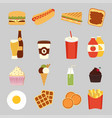 fast food set cute vector image