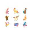 flat set adorable unicorns in different vector image vector image