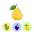 Fruit Icons Pear Plum Apple vector image vector image
