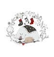 funny cartoon polar bear sleeping with little deer vector image vector image