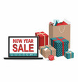 gift boxes and shopping bags with notebook vector image vector image