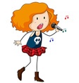 Girl singing vector image vector image