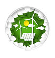 green energy logo paper cut windmills and solar vector image