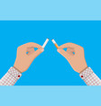 hand breaks cigarettes vector image