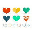 Hearts Set - Retro Heart Isolated on Light B vector image