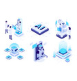 isometric artificial intelligence digital brain vector image