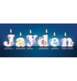 JAYDEN written with burning candles vector image vector image