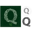 leaves alphabet letter q vector image