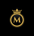 letter m royal crown luxury logo design vector image vector image
