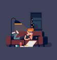 man watching movies on sofa vector image vector image