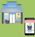 Market shop facade vector image vector image