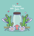 mason jar flowers cactus leaves decoration vector image vector image