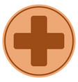 medical cross bronze coin vector image vector image