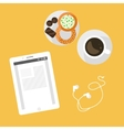 Morning breakfast day planning Tablet pc on table vector image vector image
