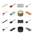 musical instrument blackcartoon icons in set vector image vector image