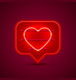 neon frame chat sign in the shape of a heart vector image vector image