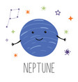 neptune planet planet with hands and eyes vector image