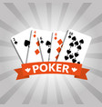 poker playing cards deck casino gambling banner vector image vector image