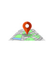 red marker pointer with road map gps navigator vector image vector image