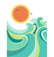 retro nature seascape poster background isolated vector image vector image