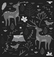 seamless pattern forest with deer black and white vector image vector image