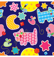 Seamless pattern - sweet dreams - cat mouse stars vector image vector image