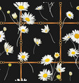 seamless pattern with golden chains straps daisy vector image vector image