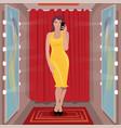 selfie yellow dress in fitting room vector image vector image