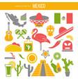 set mexico travel symbols mexican flat vector image vector image