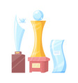 set of golden and glass awards colorful banner vector image