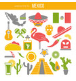set of mexico travel symbols mexican flat vector image vector image