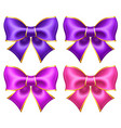 silk ultra violet and pink bows with golden border vector image vector image