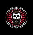 skull barbershop circle badge vector image