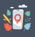 smartphone with location mark vector image vector image