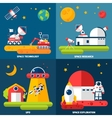 Space Exploration 4 Flat Icons Square vector image