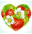 strawberries in shape heart vector image vector image
