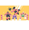strong and powerful wrestlers in ring vector image vector image