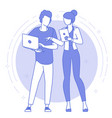 thin line teamwork concept vector image vector image