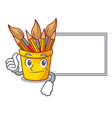 thumbs up with board pencil pot shape on the vector image