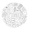 time pattern time background with world vector image vector image