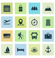 traveling icons set with bus sunset anchor and vector image vector image