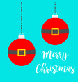 two merry christmas ball toy set hanging dash vector image vector image