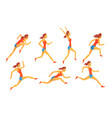 woman dressed in sportswear running set female vector image vector image