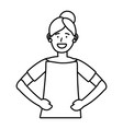woman portrait avatar black and white vector image