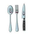 Happy laughing cartoon cutlery set vector image