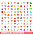 100 traveling circus icons set cartoon style vector image vector image