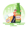alcohol addicted people man with a bottle of beer vector image
