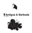 Antigua and Barbuda map regions vector image vector image