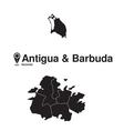 Antigua and Barbuda map regions vector image vector image