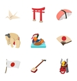 attractions japan icons set cartoon style vector image vector image